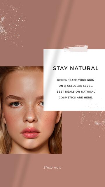 Ontwerpsjabloon van Instagram Story van Cosmetics Offer with Girl without makeup