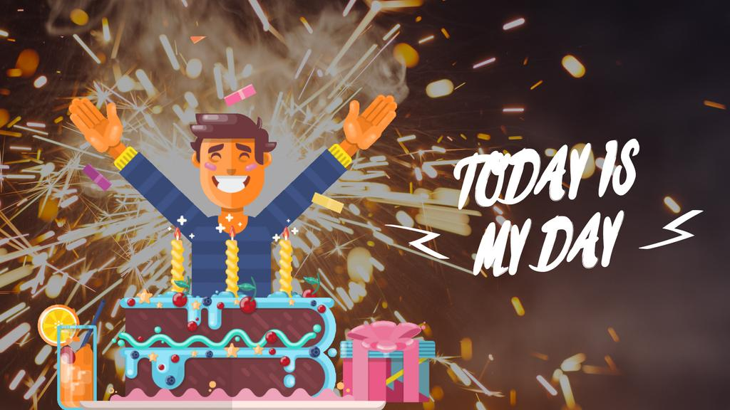 Birthday Celebration Man in Cake with Candles — Crear un diseño