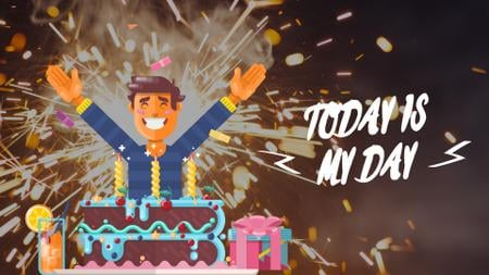 Birthday Celebration Man in Cake with Candles Full HD video Modelo de Design