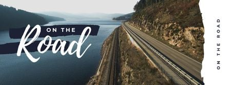 Template di design Road in scenic landscape Facebook cover