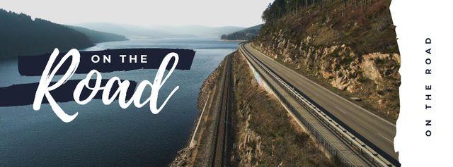 Plantilla de diseño de Road in scenic landscape Facebook cover