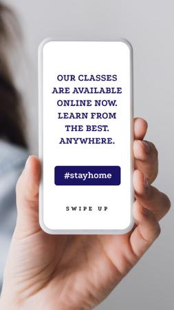 Ontwerpsjabloon van Instagram Story van #StayHome Online Education Platform on Phone screen