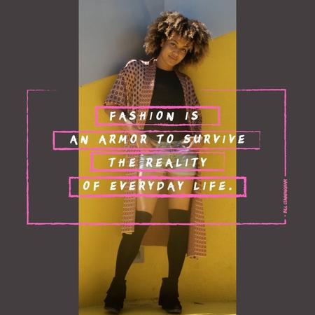 Plantilla de diseño de Fashion Quote with Stylish Young Woman Animated Post