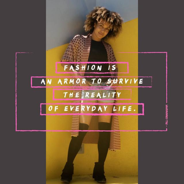 Fashion Quote with Stylish Young Woman Animated Postデザインテンプレート