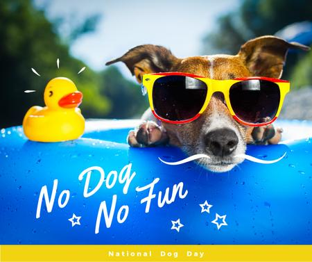 Dog day greeting Puppy in Pool Facebook Design Template