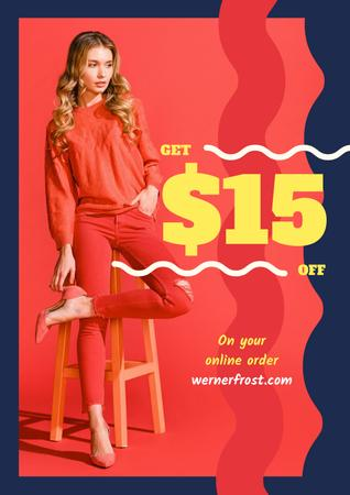 Plantilla de diseño de Young woman wearing red clothes Poster
