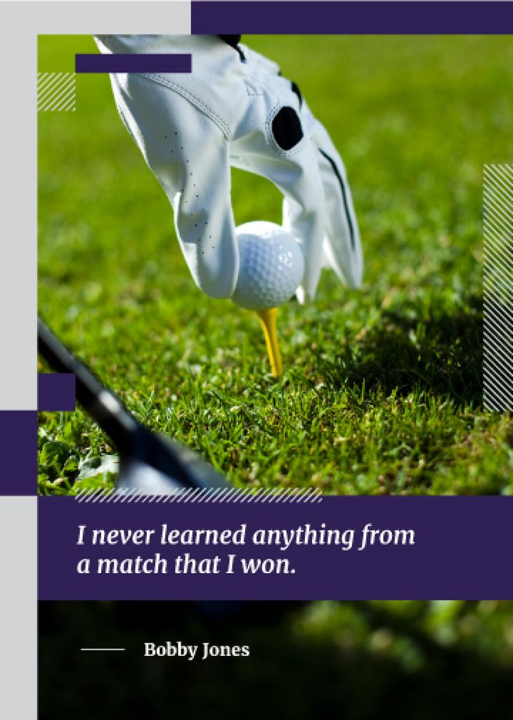 Inspiration Quote Player Holding Golf Ball — Modelo de projeto