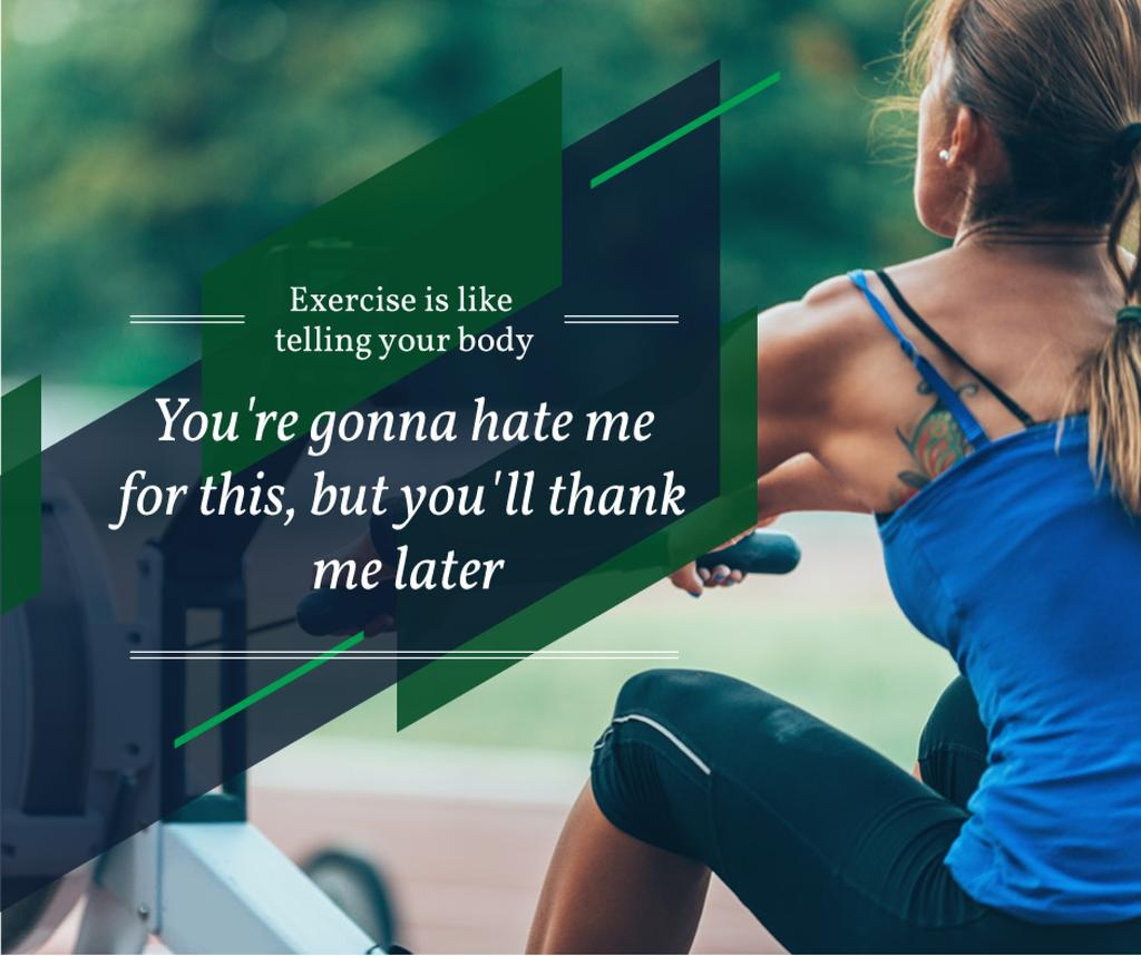 sporty young woman with motivational quote — Modelo de projeto
