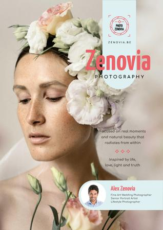 Plantilla de diseño de Photography Services Ad with Woman in Floral Wreath Poster