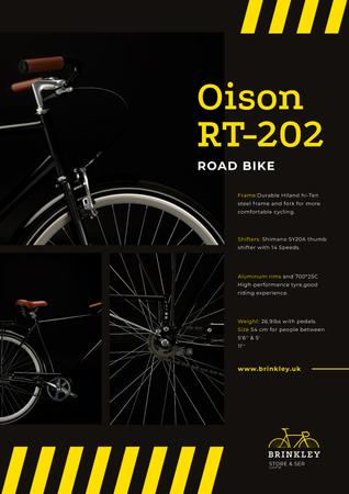 Bicycles Store Ad with Road Bike in Black Posterデザインテンプレート