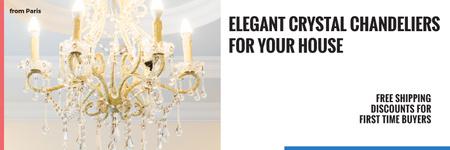 Ontwerpsjabloon van Twitter van Elegant Crystal Chandelier Ad in White