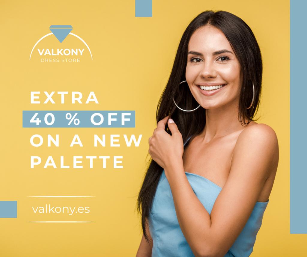Modèle de visuel Clothes Shop Ad Woman in blue Dress - Facebook