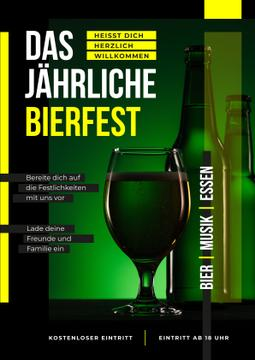 Beer Fest Invitation Bottle and Glass in Green | Poster Template