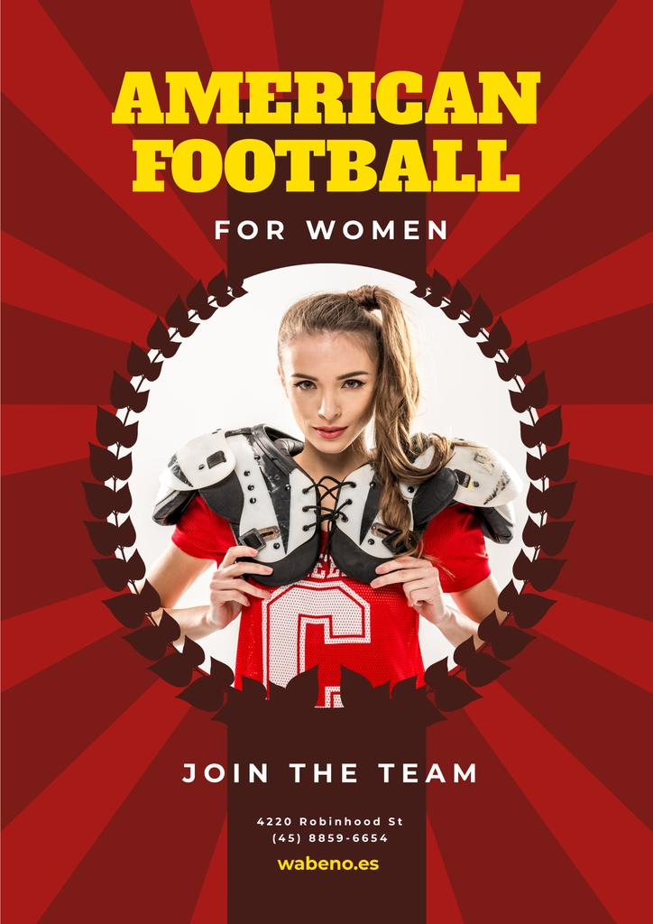 American Football Team Invitation Girl in Uniform — Crear un diseño