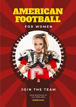 American Football Team Invitation with Girl in Uniform