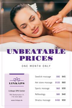 Spa Center Promotion with Woman at Massage
