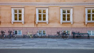 Authentic building with bikes in Autumn