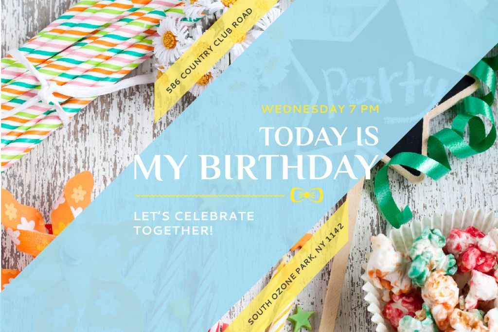 Birthday Party Invitation Bows and Ribbons | Gift Certificate Template — ein Design erstellen