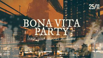 Party Invitation Night City Lights