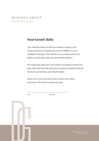 Ontwerpsjabloon van Letterhead van Requirement for New Commercial Space for Company