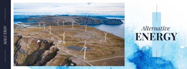 Wind turbines farm Facebook cover Modelo de Design