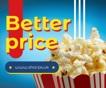 Plantilla de diseño de Sale Ad Carton Bag with Popcorn Medium Rectangle