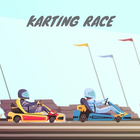 Karts racing on track Animated Post Modelo de Design
