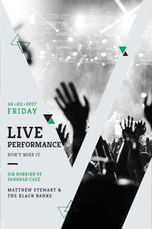 Live Performance Announcement with Crowd at Concert Pinterest Design Template