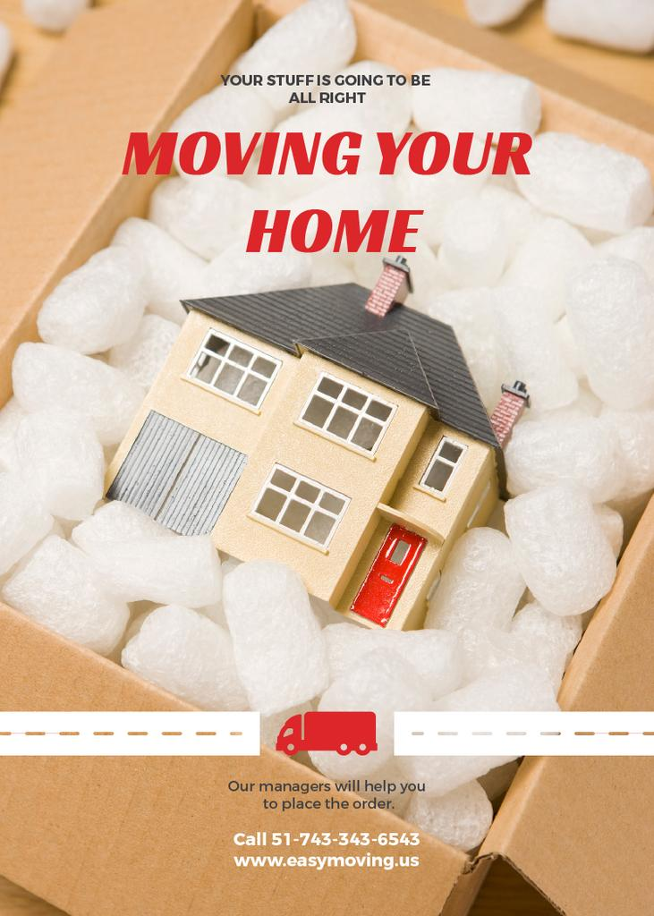 Home Moving Service Ad House Model in Box Invitation Design Template