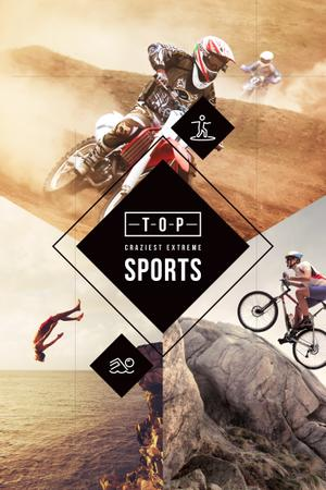 Craziest extreme sports with Cyclists Pinterestデザインテンプレート