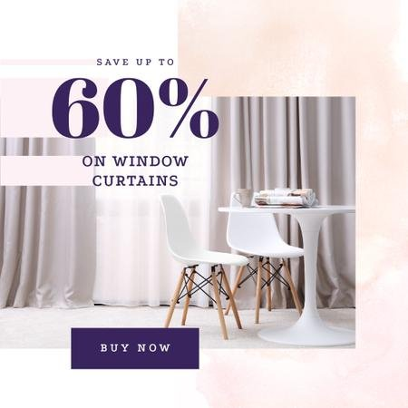 Curtains offer on Cozy interior in light colors Instagram AD – шаблон для дизайну