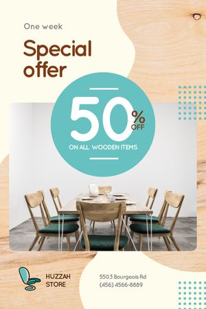 Plantilla de diseño de Furniture Offer Kitchen Table in Blue  Tumblr