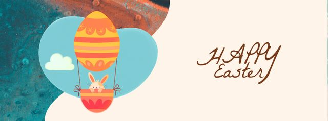 Ontwerpsjabloon van Facebook Video cover van Easter Greeting Bunny on Air Balloon