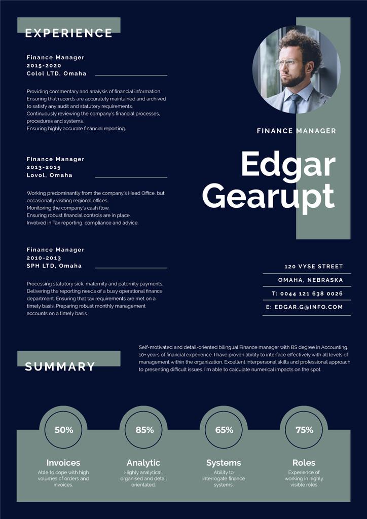 Ontwerpsjabloon van Resume van Finance Manager Professional profile