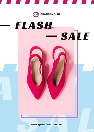 Female Fashionable Shoes in Pink Flayerデザインテンプレート