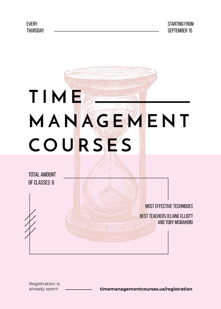 Pink hourglass sketch for Time Management courses Invitation – шаблон для дизайна
