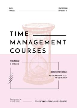 Pink hourglass sketch for Time Management courses