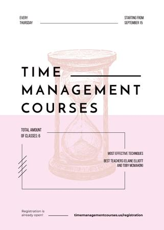 Pink hourglass sketch for Time Management courses Invitation Design Template