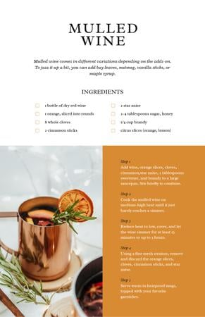 Plantilla de diseño de Cup with Mulled Wine Recipe Card