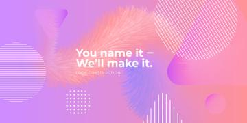 Company slogan on pink Digital pattern