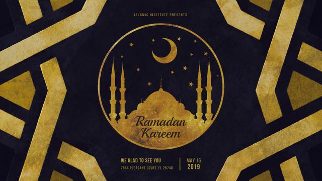 Plantilla de diseño de Golden mosque under new moon Full HD video