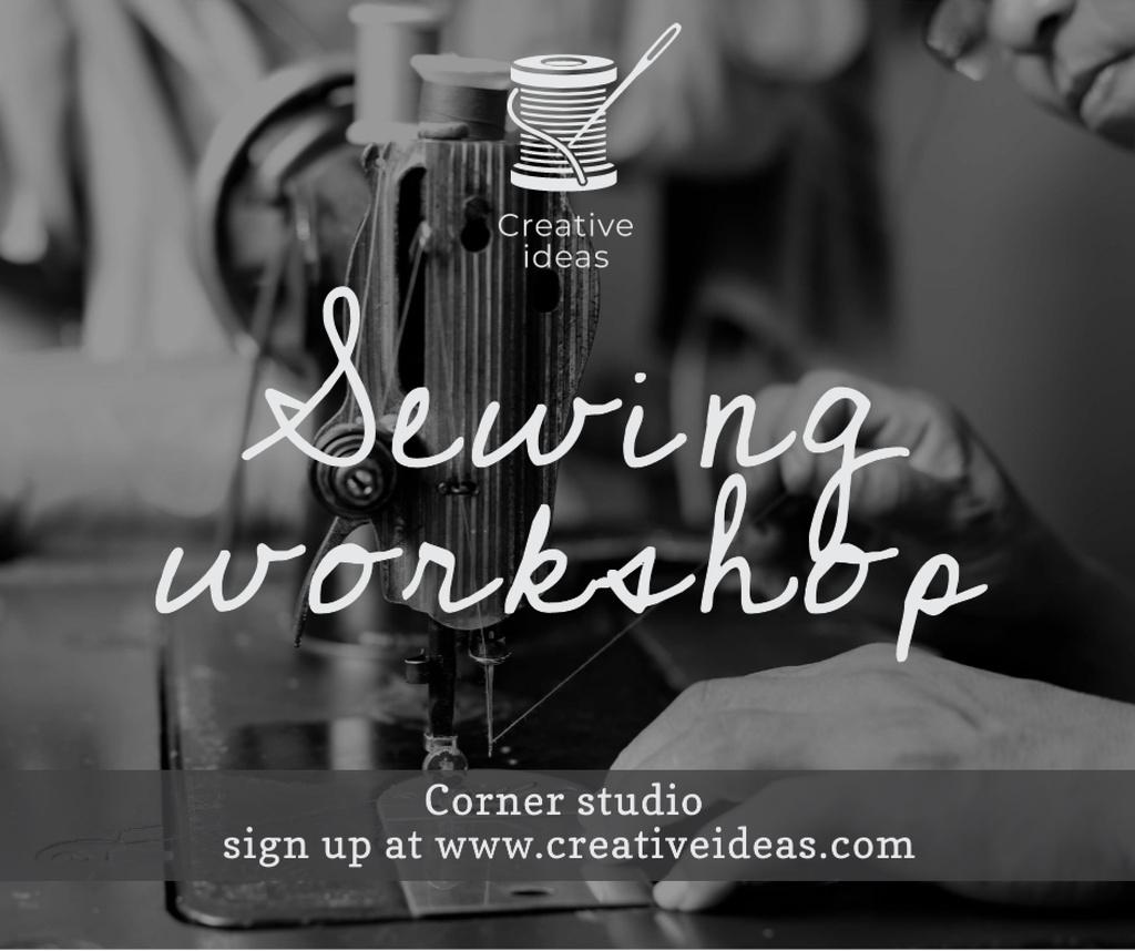 Modèle de visuel Sewing Workshop Ad Tailor at Sewing Machine - Facebook