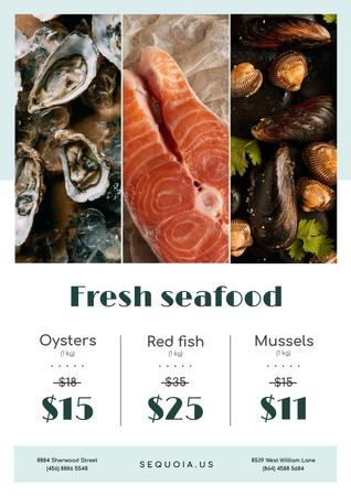 Seafood Offer with Fresh Salmon and Mollusks Poster Modelo de Design