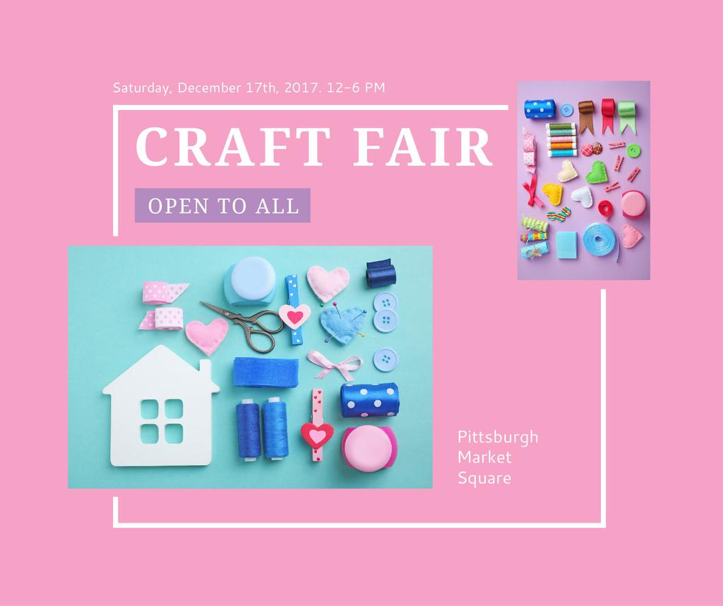 Plantilla de diseño de Craft Fair with needlework tools Facebook