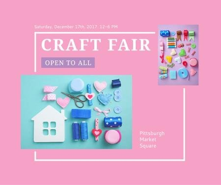 Ontwerpsjabloon van Facebook van Craft Fair with needlework tools