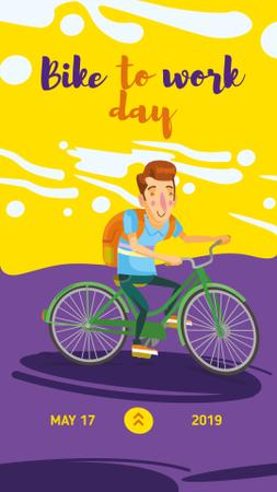 Man riding bicycle on Bike to Work Day Instagram Storyデザインテンプレート
