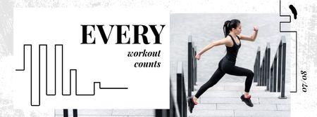 Plantilla de diseño de Workout Inspiration Girl Running in City Facebook Video cover