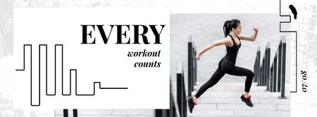 Workout Inspiration Girl Running in City Facebook Video cover Modelo de Design