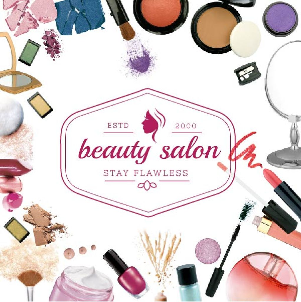Salon Ad with Cosmetics Set and Brushes — Modelo de projeto
