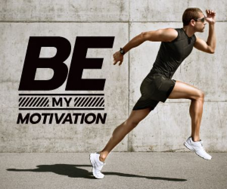 Modèle de visuel running young man and motivational quote  - Medium Rectangle